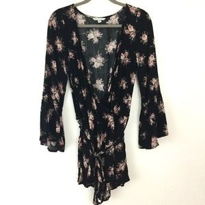 AE Floral Bell Sleeve Belted Romper